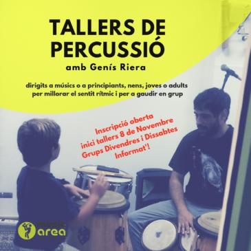 Tallers i classes de percussió amb Genís Riera
